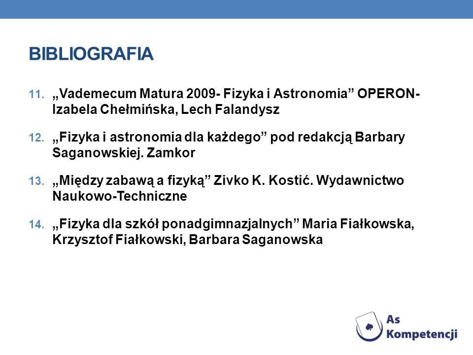 "BIBLIOGRAFIA ""Vademecum Matura 2009- Fizyka i Astronomia OPERON- Izabela Chełmińska, Lech Falandysz."