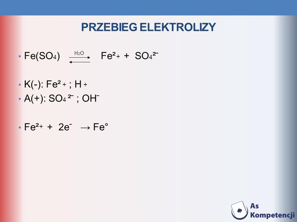 Przebieg elektrolizy Fe(SO4) Fe² + SO4² ̄ K(-): Fe² ; H