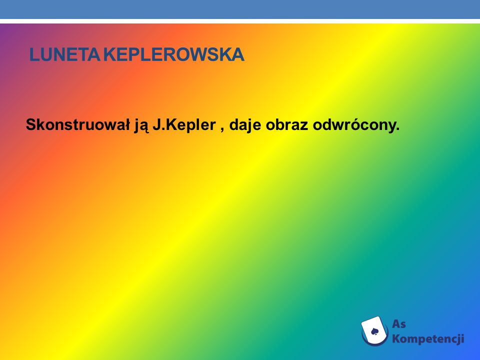 Luneta keplerowska Skonstruował ją J.Kepler , daje obraz odwrócony.