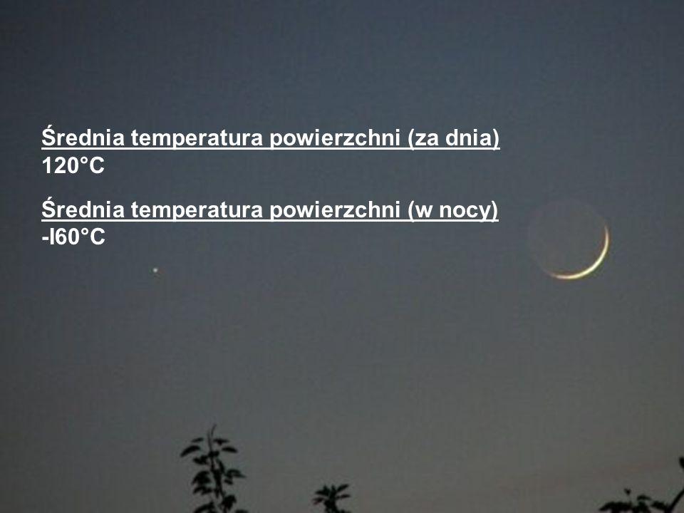 Średnia temperatura powierzchni (za dnia) 120°C Średnia temperatura powierzchni (w nocy) -I60°C