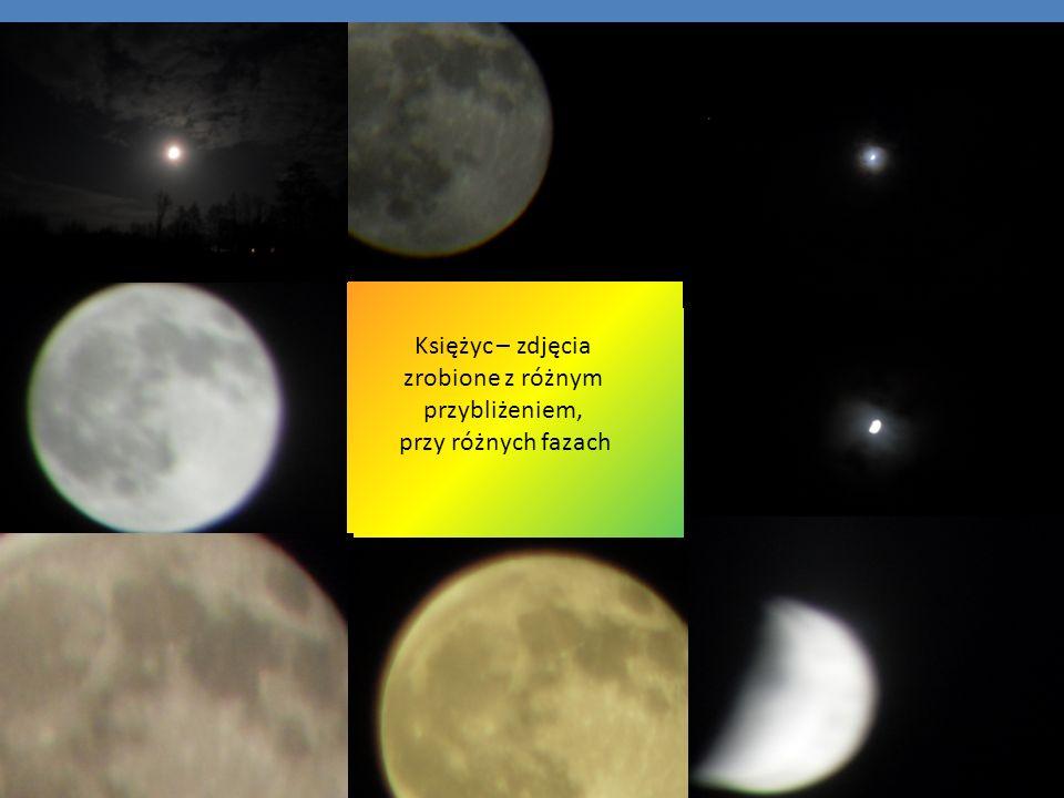 Księżyc – zdjęcia zrobione z różnym przybliżeniem,