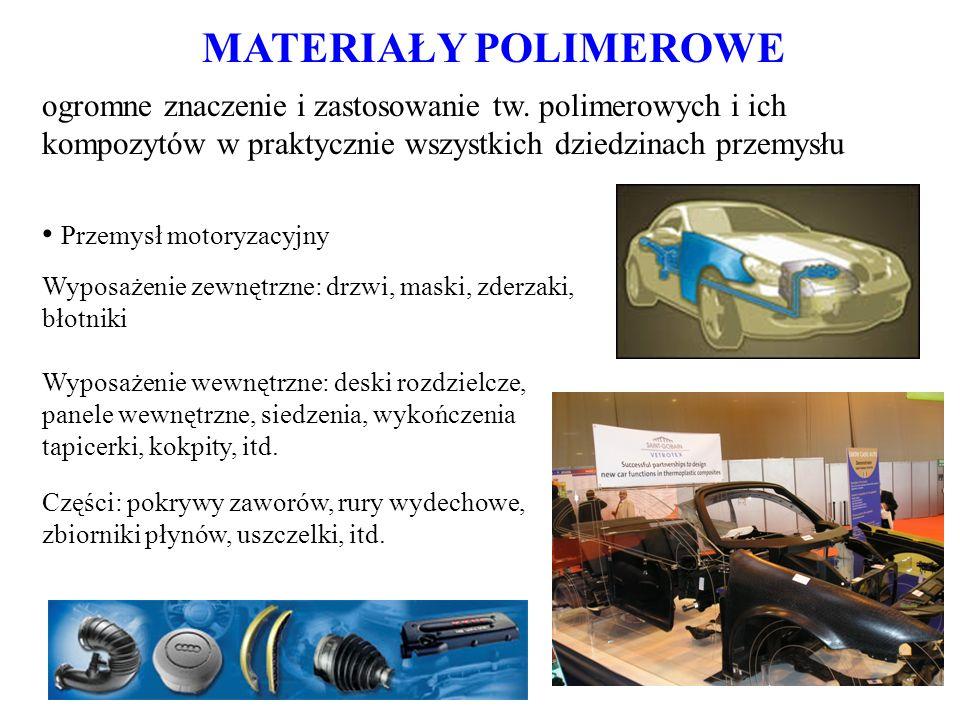 MATERIAŁY POLIMEROWE ogromne znaczenie i zastosowanie tw. polimerowych i ich kompozytów w praktycznie wszystkich dziedzinach przemysłu.