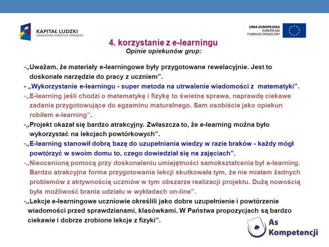 4. korzystanie z e-learningu Opinie opiekunów grup: