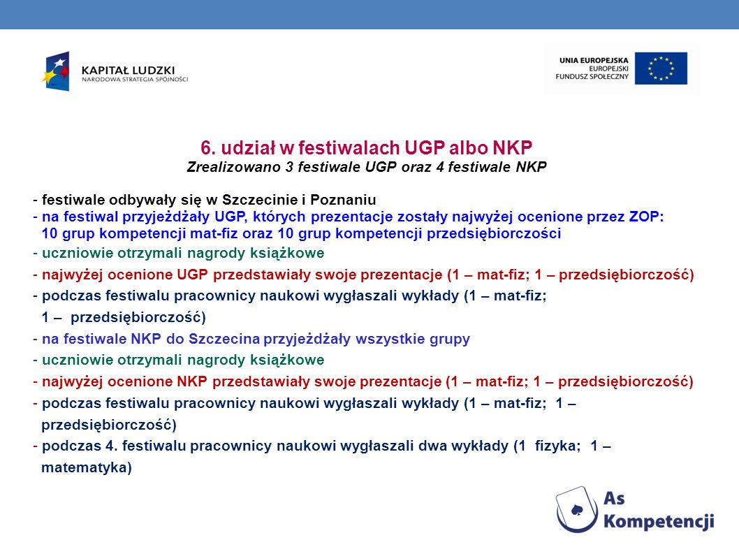 6. udział w festiwalach UGP albo NKP