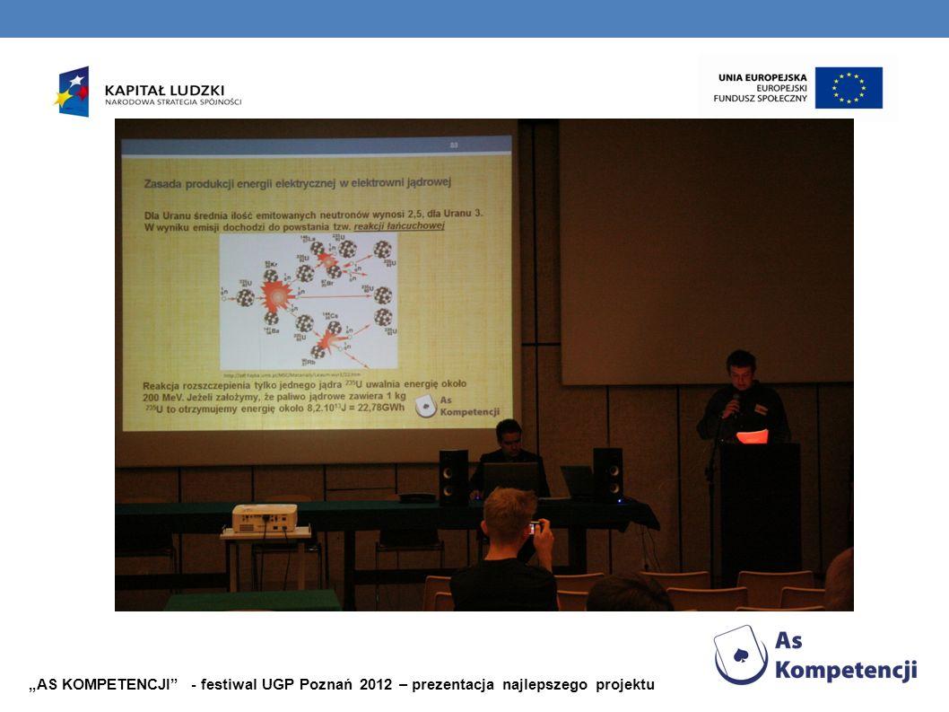 """""""AS KOMPETENCJI - festiwal UGP Poznań 2012 – prezentacja najlepszego projektu"""