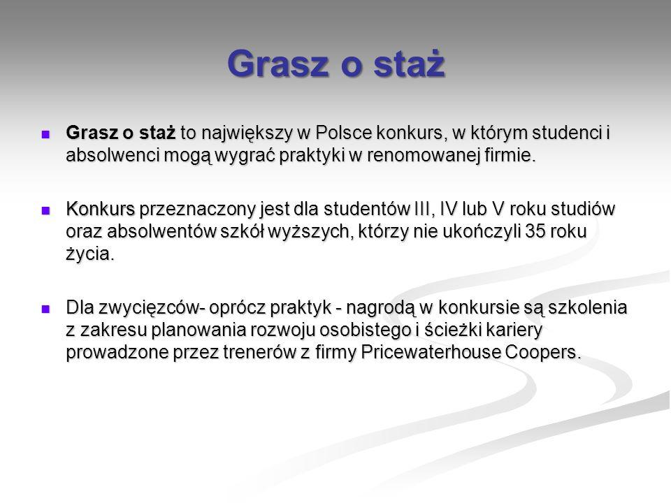 Grasz o staż Grasz o staż to największy w Polsce konkurs, w którym studenci i absolwenci mogą wygrać praktyki w renomowanej firmie.