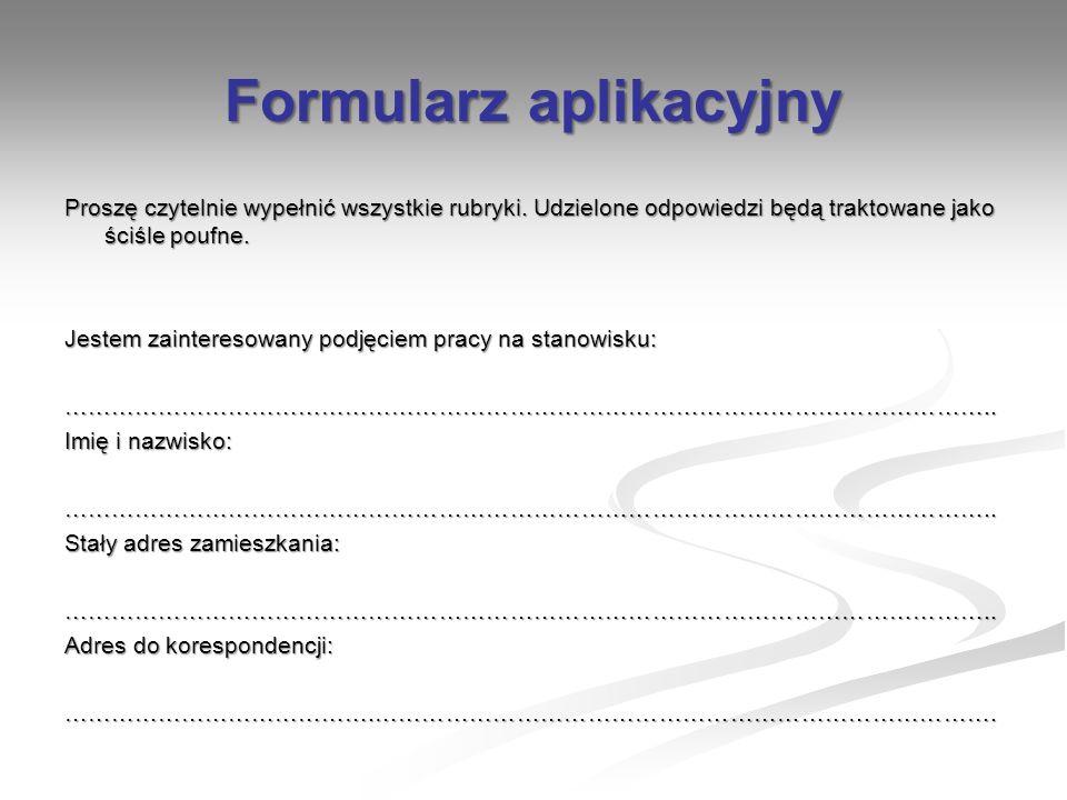 Formularz aplikacyjny