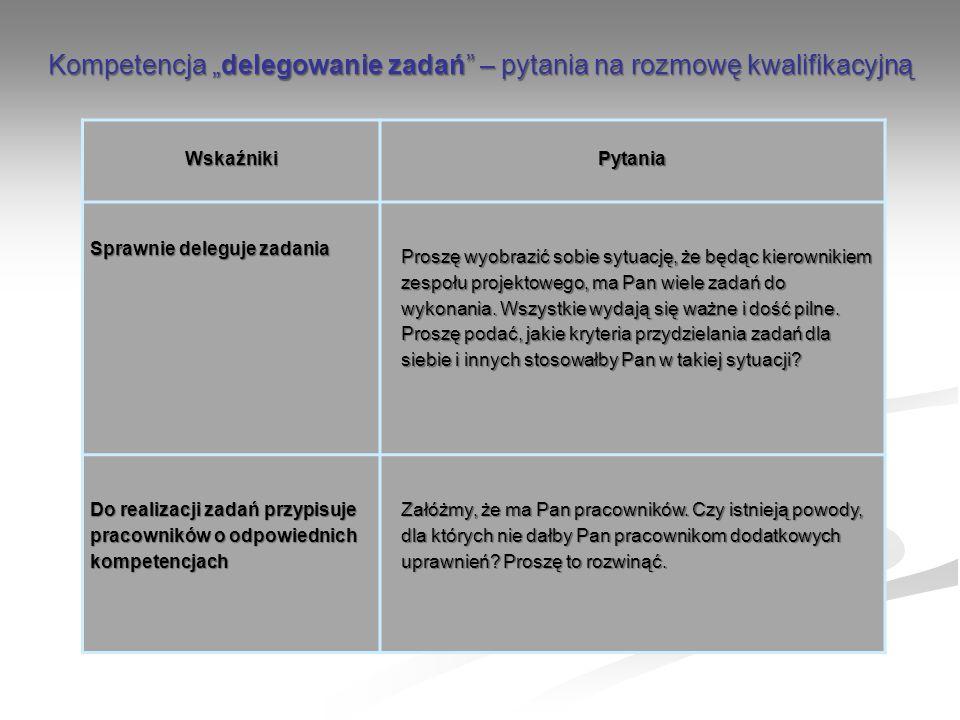 """Kompetencja """"delegowanie zadań – pytania na rozmowę kwalifikacyjną"""
