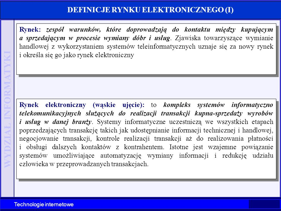 DEFINICJE RYNKU ELEKTRONICZNEGO (I)