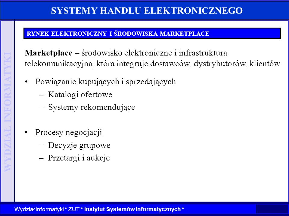 SYSTEMY HANDLU ELEKTRONICZNEGO