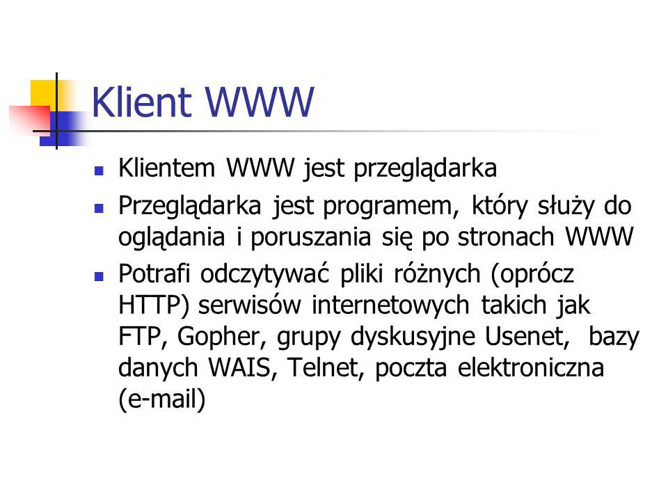 Klient WWW Klientem WWW jest przeglądarka