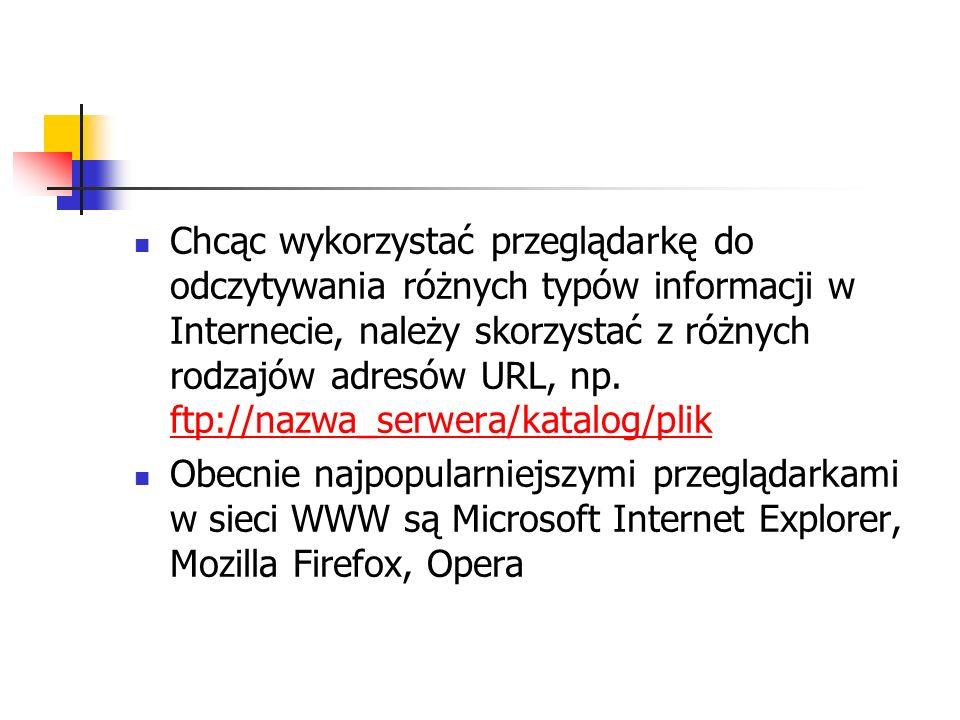 Chcąc wykorzystać przeglądarkę do odczytywania różnych typów informacji w Internecie, należy skorzystać z różnych rodzajów adresów URL, np. ftp://nazwa_serwera/katalog/plik