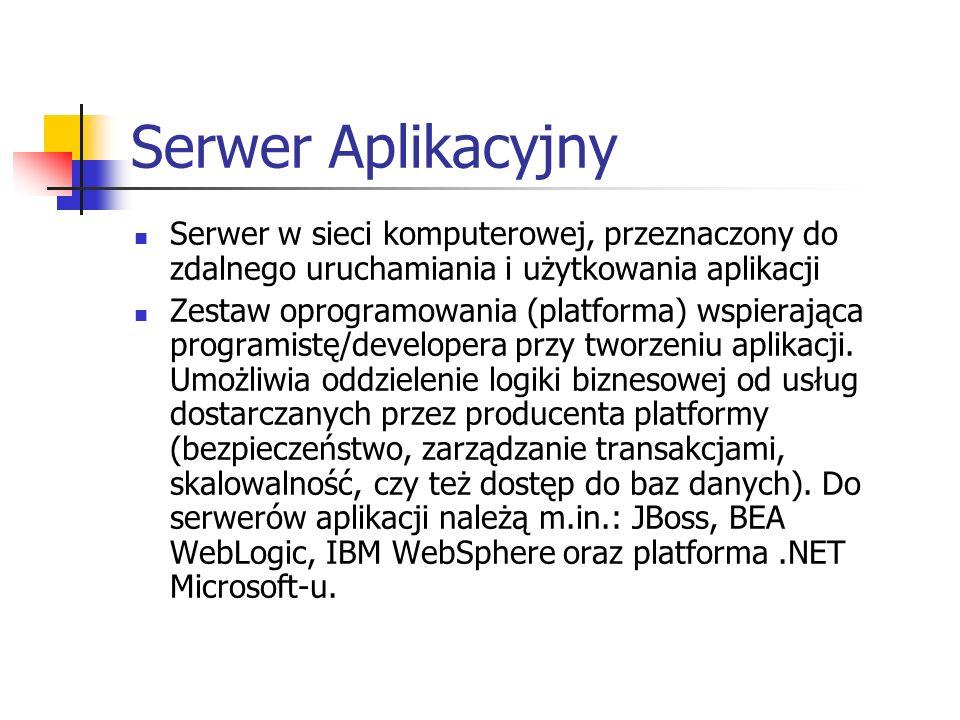 Serwer AplikacyjnySerwer w sieci komputerowej, przeznaczony do zdalnego uruchamiania i użytkowania aplikacji.