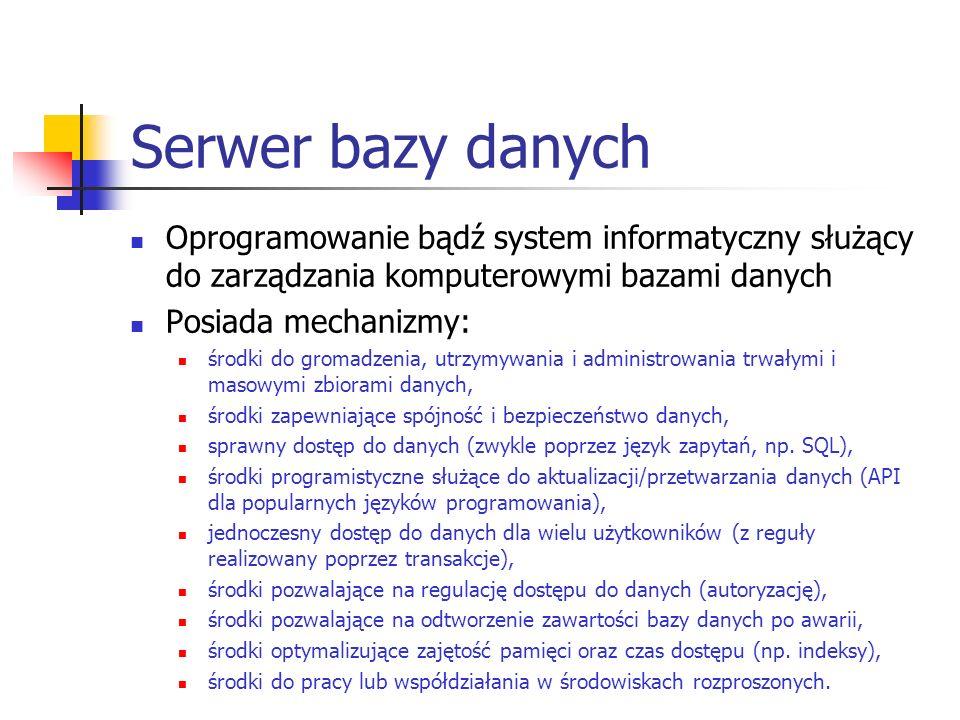 Serwer bazy danych Oprogramowanie bądź system informatyczny służący do zarządzania komputerowymi bazami danych.