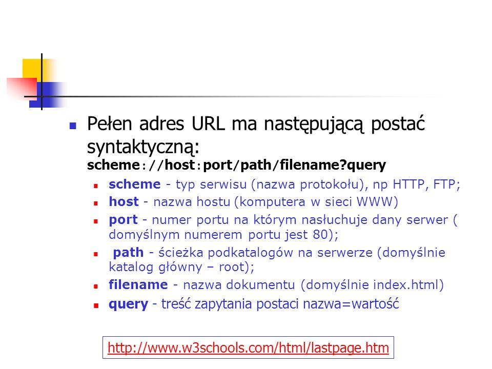 Pełen adres URL ma następującą postać syntaktyczną: scheme://host:port/path/filename query