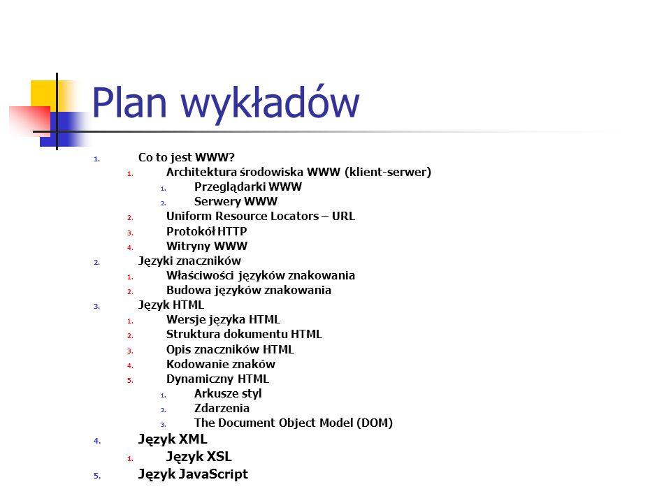 Plan wykładów Język XML Język XSL Język JavaScript Co to jest WWW