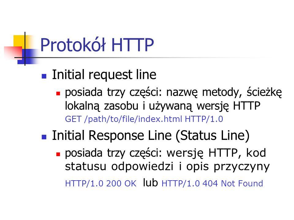 Protokół HTTP Initial request line Initial Response Line (Status Line)