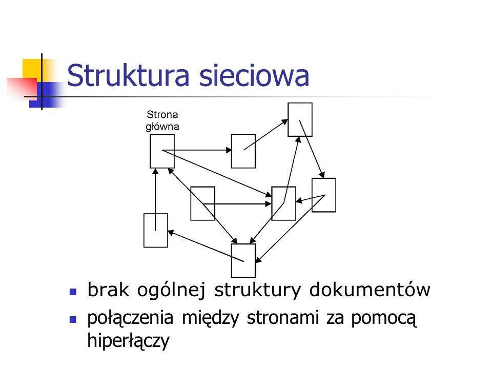 Struktura sieciowa brak ogólnej struktury dokumentów
