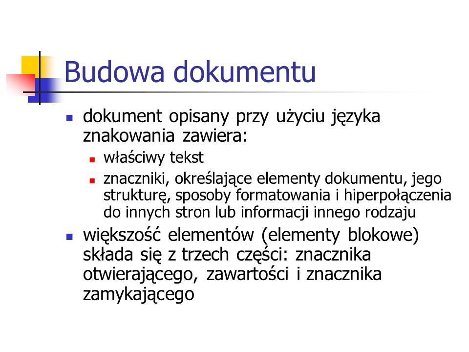 Budowa dokumentudokument opisany przy użyciu języka znakowania zawiera: właściwy tekst.
