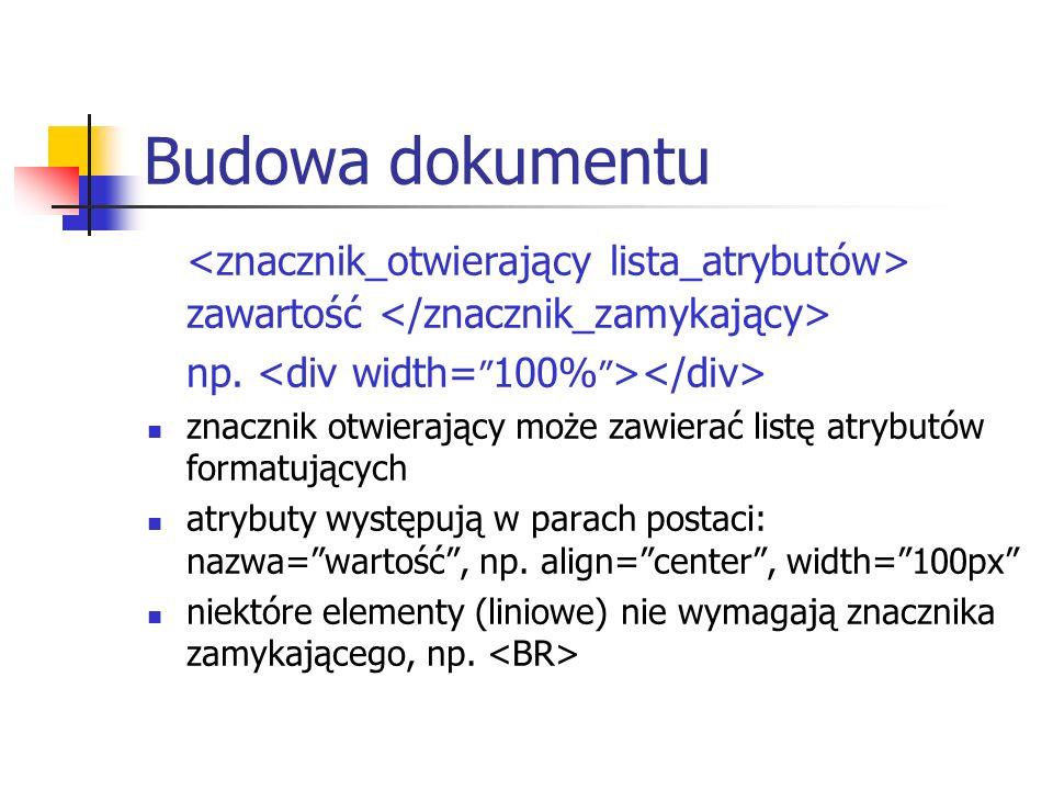 Budowa dokumentu<znacznik_otwierający lista_atrybutów> zawartość </znacznik_zamykający> np. <div width= 100% ></div>