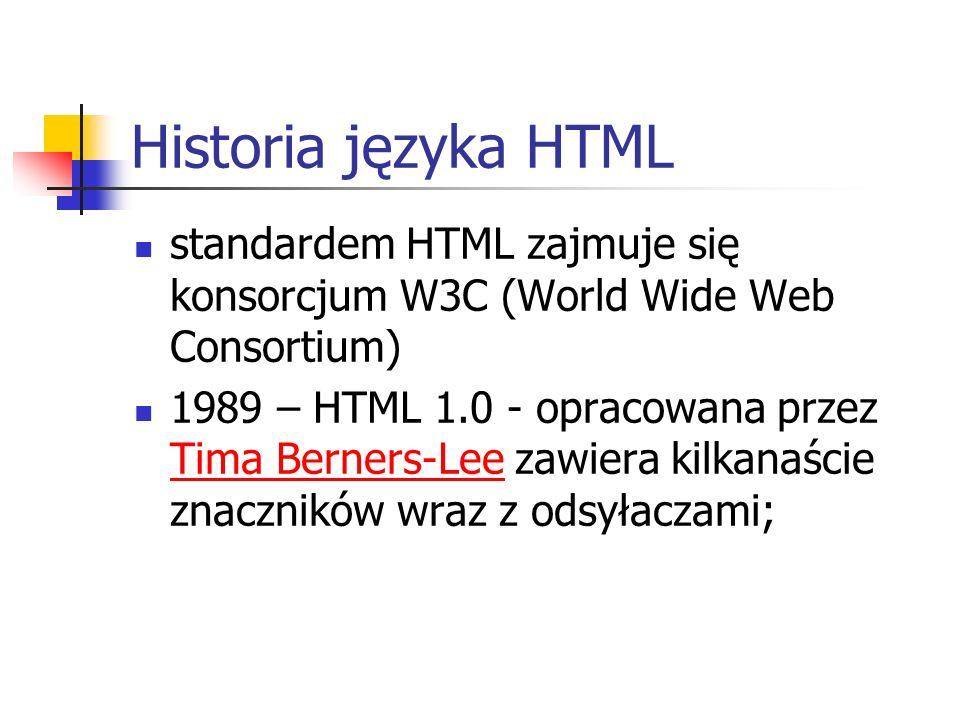 Historia języka HTMLstandardem HTML zajmuje się konsorcjum W3C (World Wide Web Consortium)