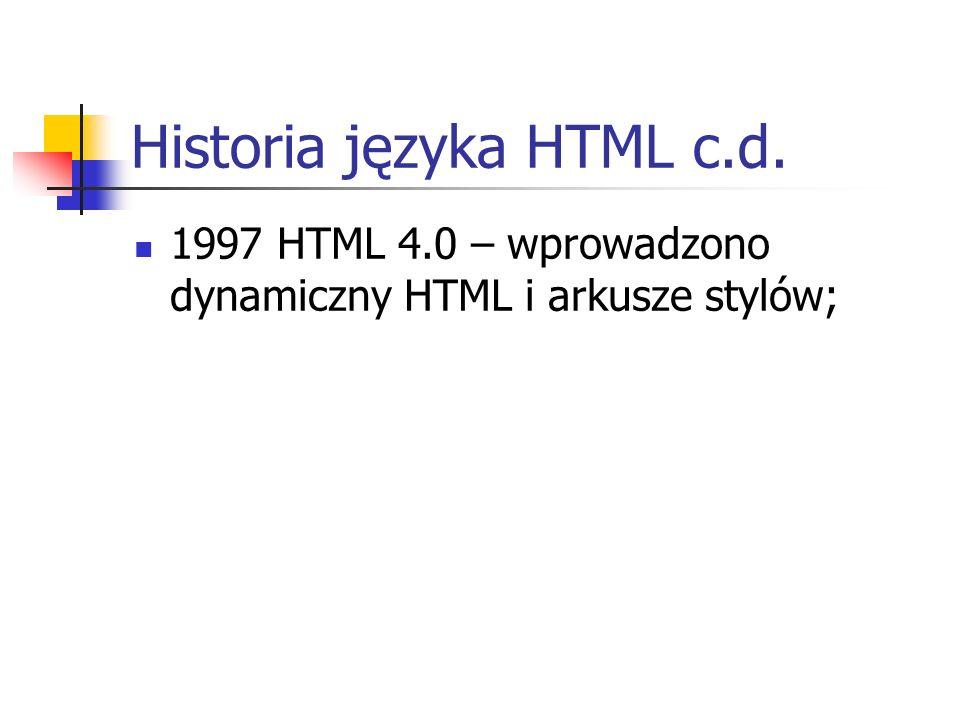 Historia języka HTML c.d.