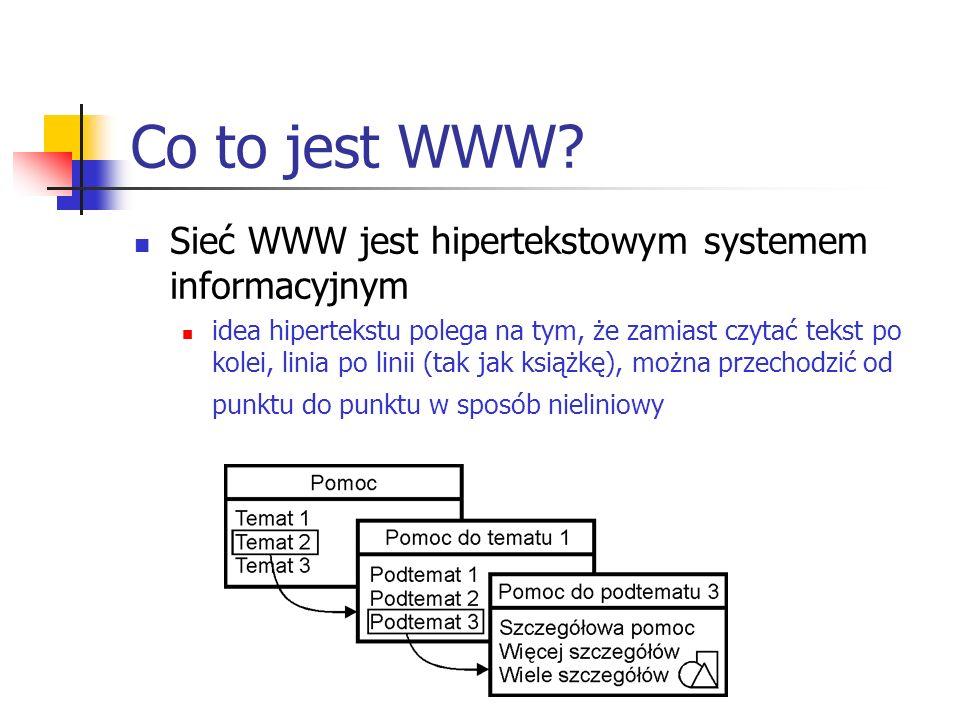 Co to jest WWW Sieć WWW jest hipertekstowym systemem informacyjnym