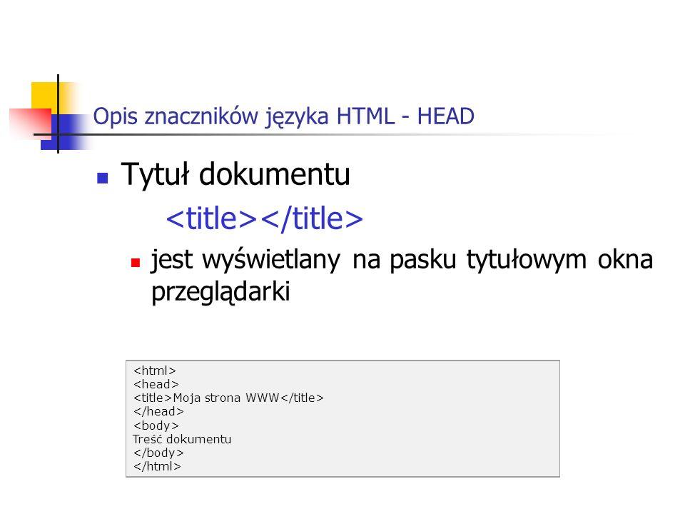 Opis znaczników języka HTML - HEAD