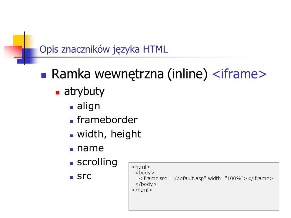 Opis znaczników języka HTML