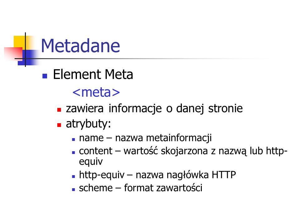 Metadane Element Meta <meta> zawiera informacje o danej stronie