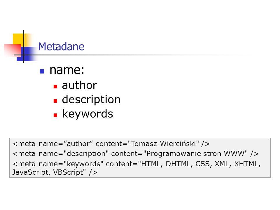 name: Metadane author description keywords