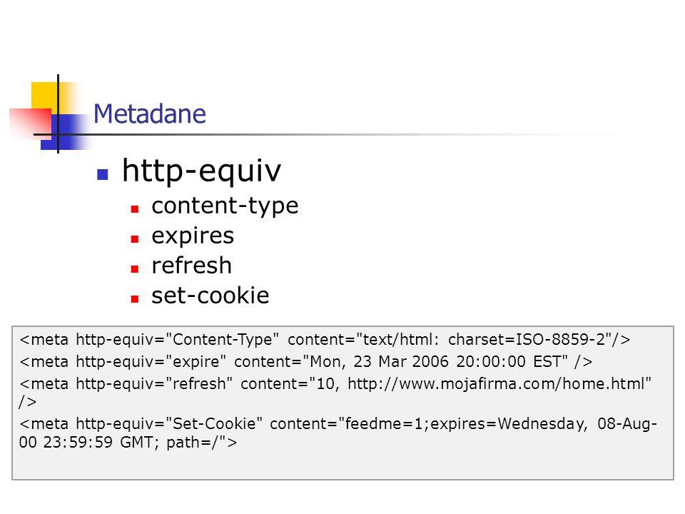http-equiv Metadane content-type expires refresh set-cookie