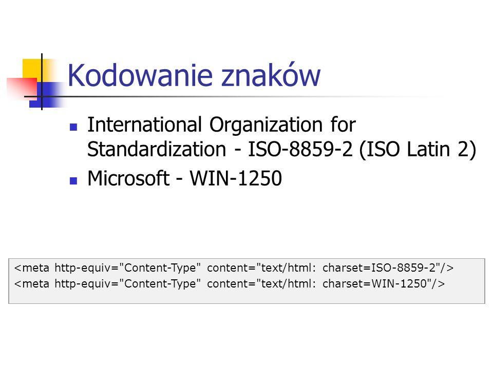 Kodowanie znaków International Organization for Standardization - ISO-8859-2 (ISO Latin 2) Microsoft - WIN-1250.