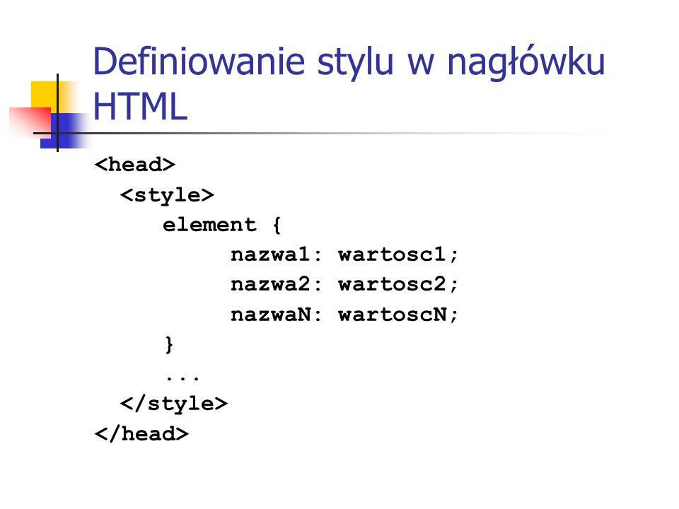 Definiowanie stylu w nagłówku HTML