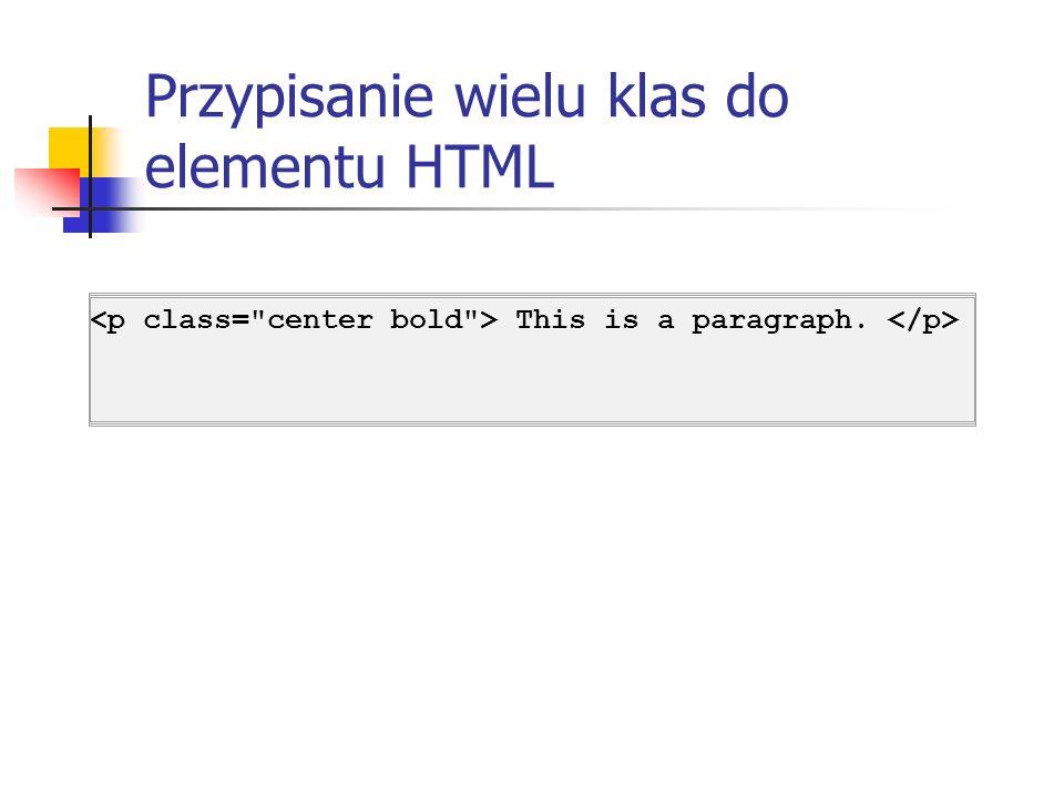 Przypisanie wielu klas do elementu HTML