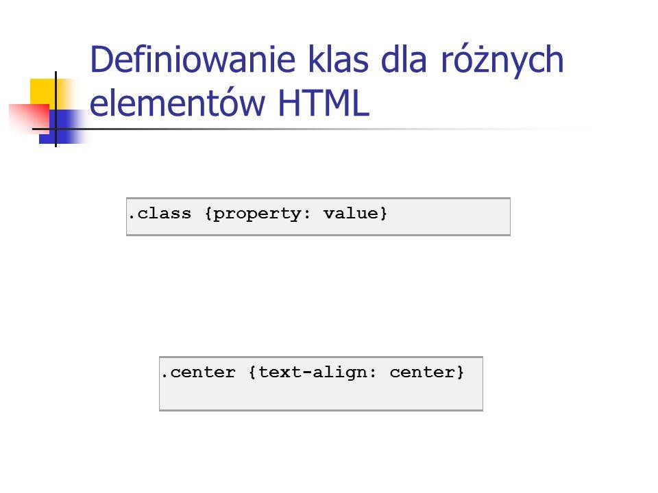 Definiowanie klas dla różnych elementów HTML