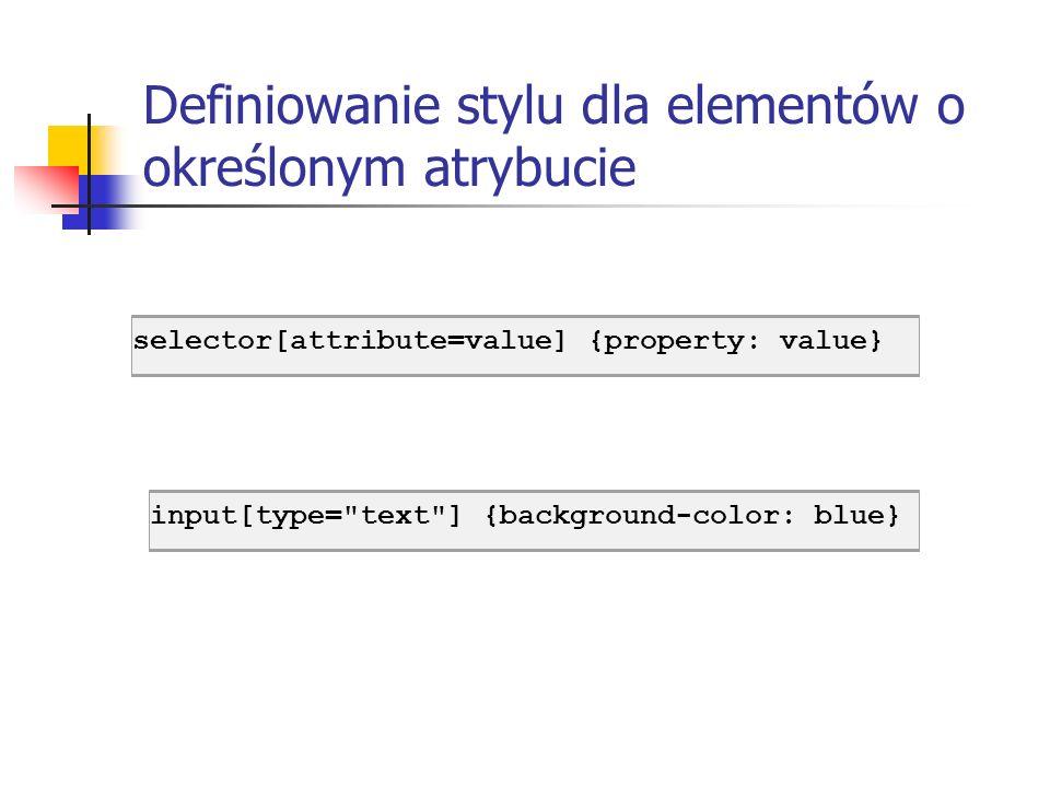 Definiowanie stylu dla elementów o określonym atrybucie