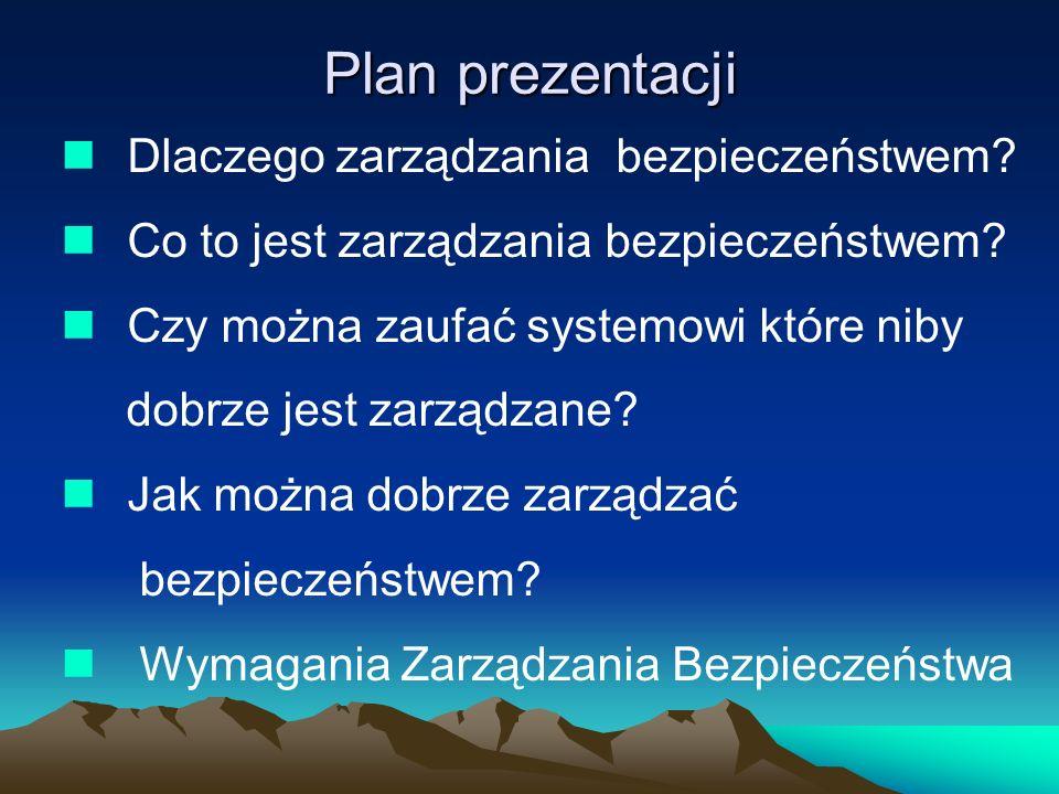 Plan prezentacji Dlaczego zarządzania bezpieczeństwem