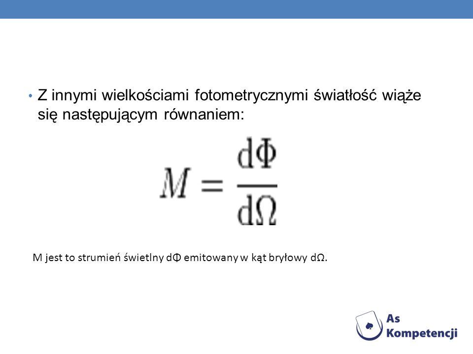 Z innymi wielkościami fotometrycznymi światłość wiąże się następującym równaniem: