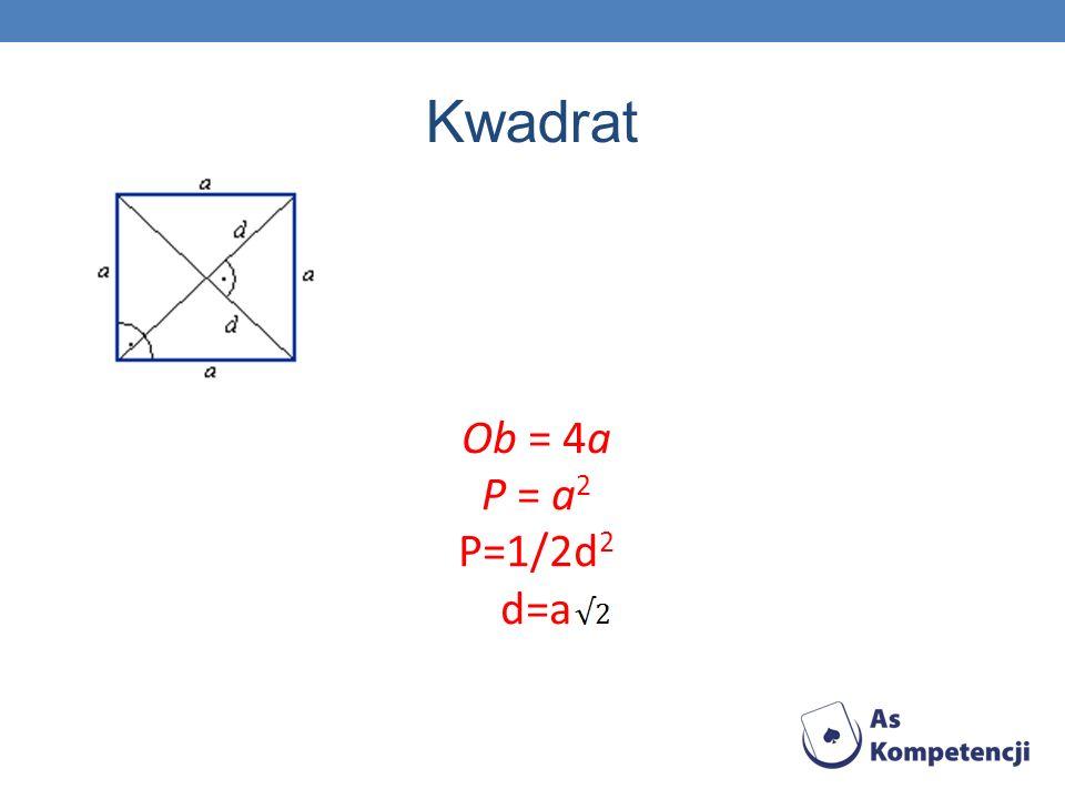 Kwadrat Ob = 4a P = a2 P=1/2d2 d=a