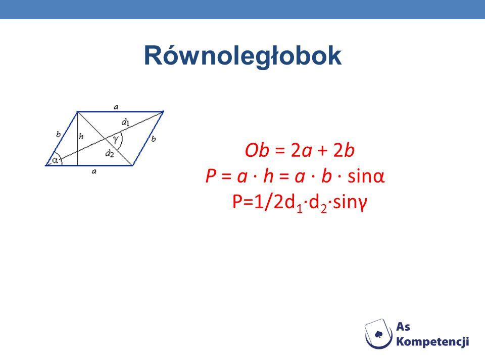 Ob = 2a + 2b P = a · h = a · b · sinα