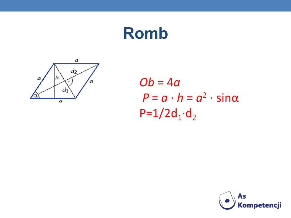 Romb Ob = 4a P = a · h = a2 · sinα P=1/2d1·d2