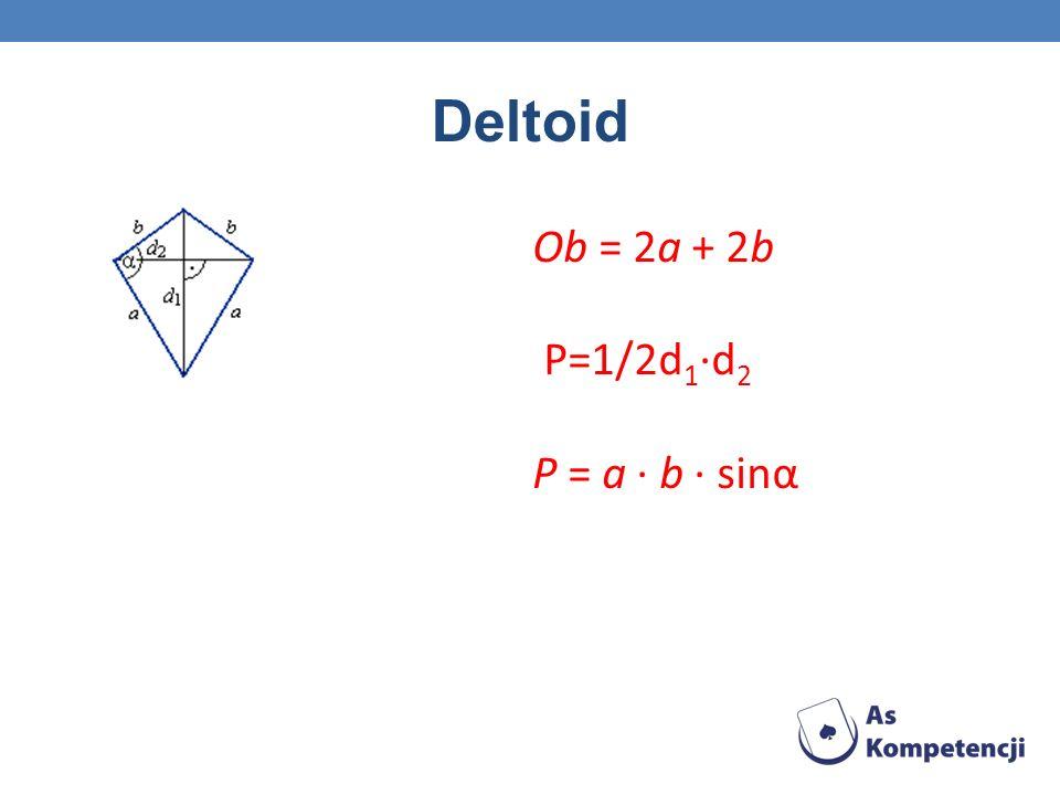 Deltoid Ob = 2a + 2b P=1/2d1·d2 P = a · b · sinα