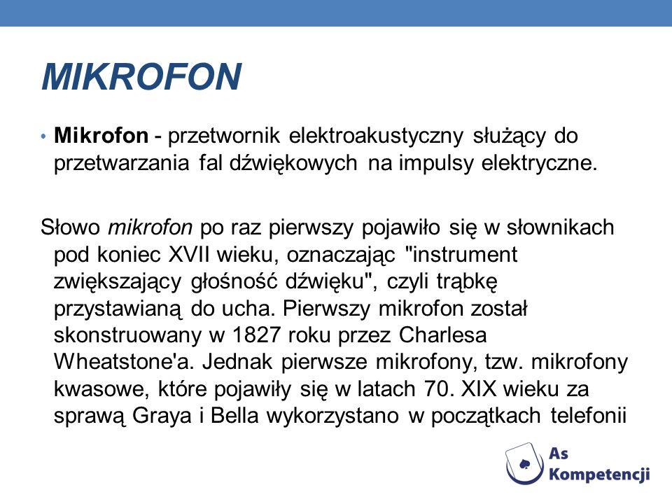 MIKROFON Mikrofon - przetwornik elektroakustyczny służący do przetwarzania fal dźwiękowych na impulsy elektryczne.