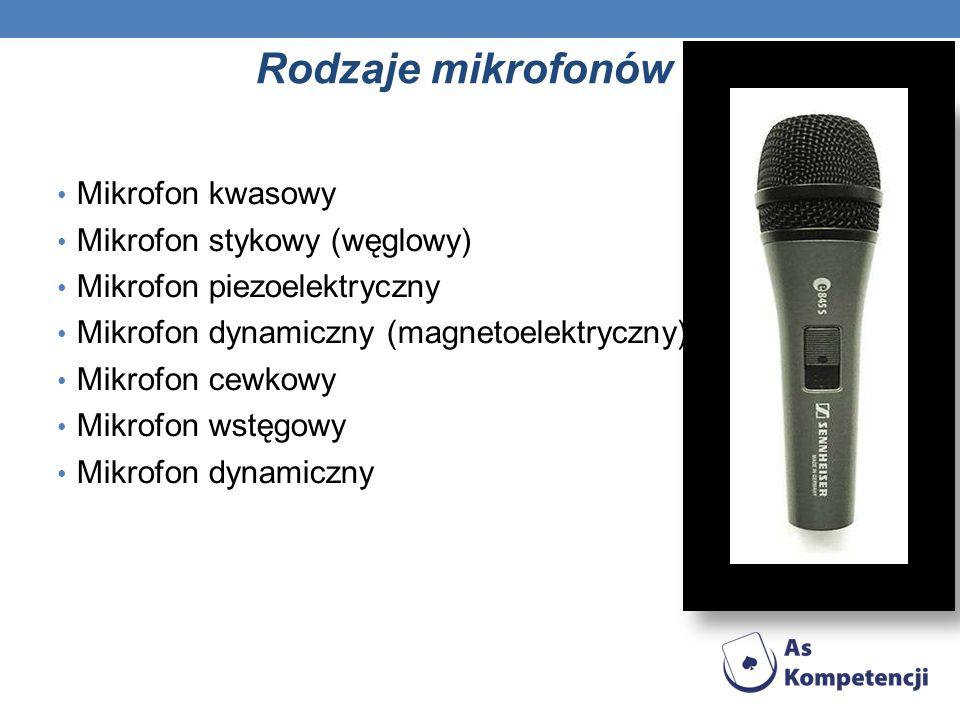 Rodzaje mikrofonów Mikrofon kwasowy Mikrofon stykowy (węglowy)