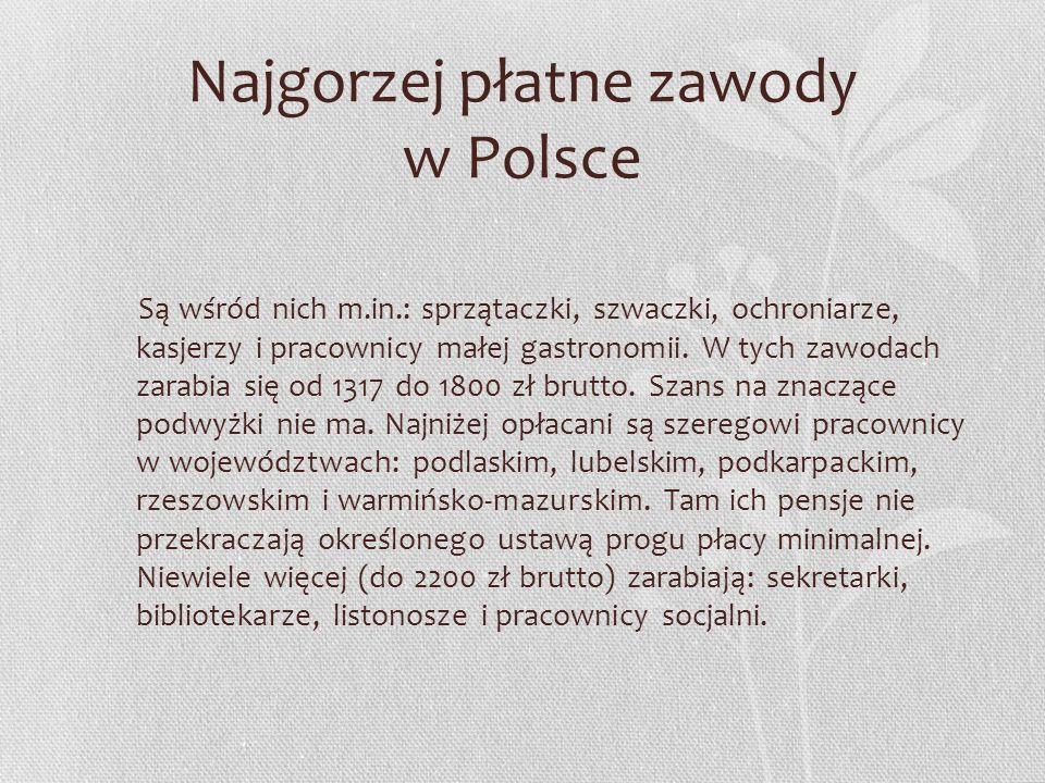Najgorzej płatne zawody w Polsce