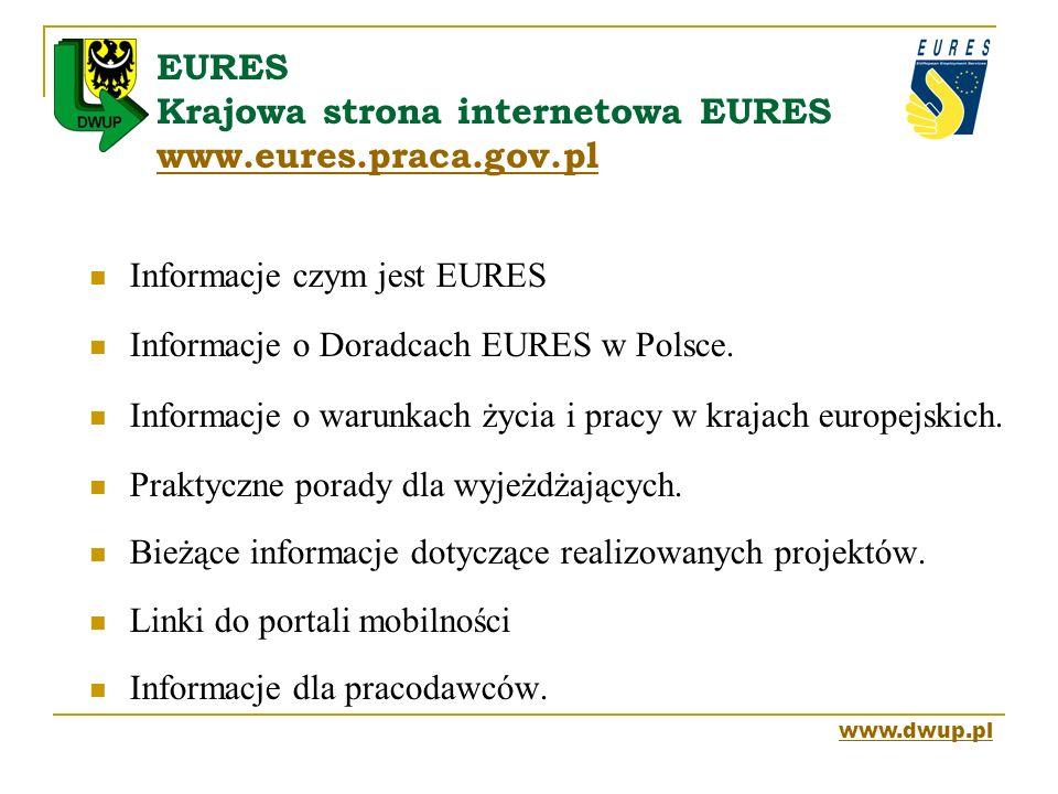 EURES Krajowa strona internetowa EURES www.eures.praca.gov.pl