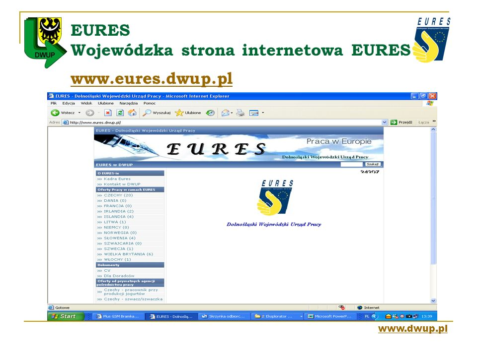 EURES Wojewódzka strona internetowa EURES www.eures.dwup.pl
