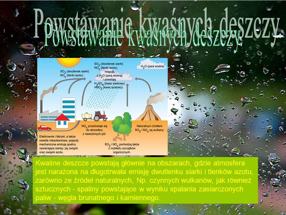 Powstawanie kwaśnych deszczy.