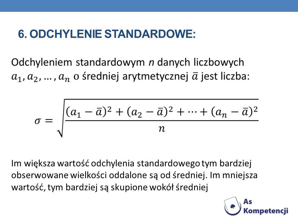 6. Odchylenie standardowe: